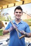 Portrait Of Landscape Gardener Holding Spade Royalty Free Stock Image