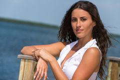 Portrait of latin woman in the seaside Stock Photography