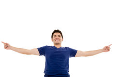 Portrait of a latin young man with his hands Stock Photos