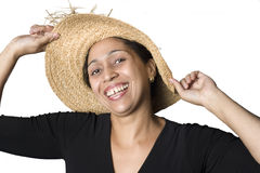 Portrait of a Latino woman wearing straw hat Royalty Free Stock Photos