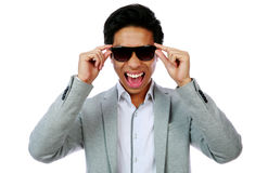 Portrait of a laughing asian man stock image