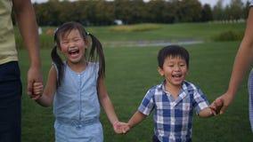 Portrait of laughing asian siblings walking in park stock video