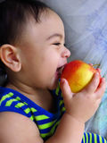 Portrait of laughing baby boy with apple Royalty Free Stock Photography