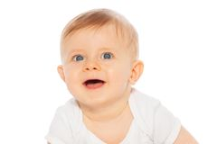 Portrait of laughing baby on the white background royalty free stock photo