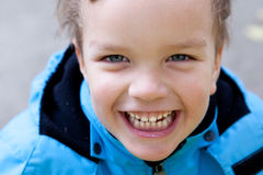 Portrait of  laughing boy, closeup Royalty Free Stock Photo