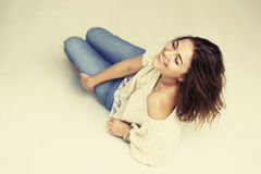Portrait laughing brown hair girl Royalty Free Stock Photography