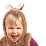 Portrait of laughing Caucasian baby girl in bear costume Royalty Free Stock Images