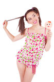 Portrait of laughing girl  holding big lollipop Royalty Free Stock Photos