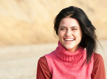 Portrait of laughing girl in pink Stock Images