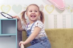 Portrait of a laughing girl royalty free stock photo