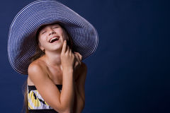 Portrait of laughing girl-teens Stock Image