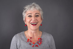 Portrait of laughing gray-haired lady Royalty Free Stock Photo