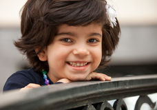 Portrait of a Laughing Little Caucasian Girl Royalty Free Stock Photography