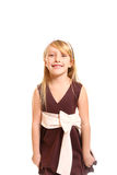 Portrait of laughing little girl in a dress on a white backgroun Royalty Free Stock Image