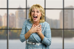 Portrait of laughing mature woman. Royalty Free Stock Photos