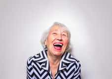 The portrait of a laughing old woman Royalty Free Stock Photography