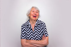 The portrait of a laughing old woman Royalty Free Stock Images