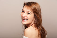 Portrait of laughing redhead woman Royalty Free Stock Photos