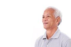 Portrait of laughing senior man. White isolated background stock image