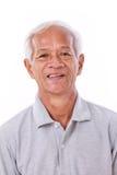 Portrait of laughing senior man. White isolated background royalty free stock photography