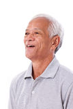 Portrait of laughing senior man. White isolated background royalty free stock images