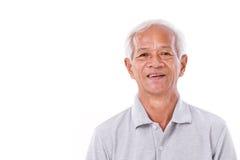 Portrait of laughing senior man. White isolated background royalty free stock photo