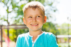Portrait of laughing and smiling little boy Stock Photo