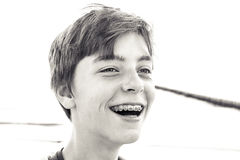Portrait of a laughing teenage boy Royalty Free Stock Images