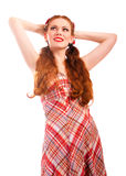 Portrait of laughing woman in checkered dress Stock Images