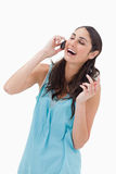 Portrait of a laughing woman making a phone call Stock Images