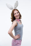 Portrait of a laughing woman with rabbit ears Royalty Free Stock Photos