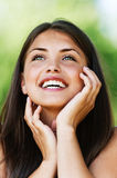 Portrait of laughing young woman stock photo