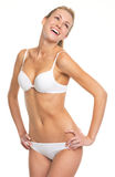 Portrait of laughing young woman in lingerie Royalty Free Stock Photo