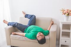Lazy Fat obese man sleeping on the couch. Portrait of lazy Fat obese man sleeping on the couch Royalty Free Stock Image