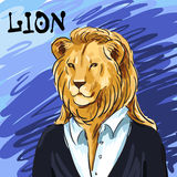 Portrait of a leader. Beautiful lion in suit hand-drawn. Individual corporate identity. It can be used as postcard. Vector Royalty Free Stock Photo
