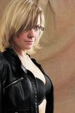 Portrait with leather jacket Stock Photography