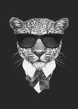 Portrait of Leopard in suit. Hand drawn illustration Royalty Free Stock Photos