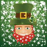 Portrait of Leprechaun. Irish man with clover leaves and hat. St Stock Image
