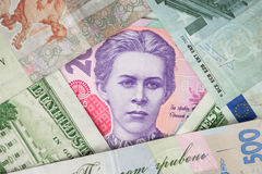Portrait of Lesya Ukrainka on the banknote 200 hryvnia - Ukrainian currency. Close up royalty free stock image