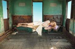 Portrait of the levitating sleeping lady Royalty Free Stock Image