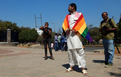 Portrait of LGBT activist with equality demand during Queer Swabhimana Yatra. 2017 on February 19,2017 in Hyderabad,India Royalty Free Stock Photography