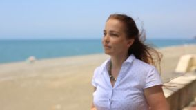 Portrait lifestyle Caucasian women on the beach,the concept of a healthy lifestyle and recreation. stock video footage