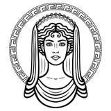 Portrait linéaire de la jeune femme grecque avec une coiffure traditionnelle Cercle décoratif illustration libre de droits