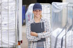 Portrait linen cleaning service manager Royalty Free Stock Image
