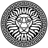 Portrait of a lion, and meanders. Antique relief. Vector illustration Stock Illustration