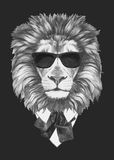 Portrait of Lion in suit. Hand drawn illustration Stock Images