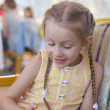 Portrait of little adorable charming funny girl Stock Images
