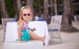 Portrait of little adorable girl on a tropical Royalty Free Stock Images
