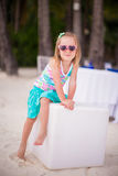 Portrait little adorable girl on a tropical white Stock Image
