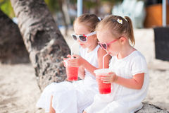 Portrait of little adorable girl on a tropical Stock Image